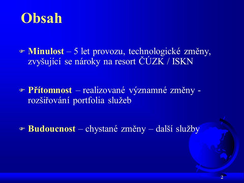 """3 ISKN - minulost (""""technologická ) 3/2001 - migrace ze stávajícího systému - postupné zahájení provozu ISKN včetně dálkového přístupu (DP) 4/2004 - úprava DP pro kraje a obce (novela KZ) 4/2004 - příprava na technologické změny (RDP) 4/2005 - upgrade ZSW na serverech i stanicích 8/2005 - RDP - spuštění pro kraje a obce 2/2006 - RDP - i pro """"platící uživatele – úplné odstavení systému DP z roku 2001 9/2005 - studie proveditelnosti centralizace ISKN 2004,2005 - plnění usnesení vlády č."""