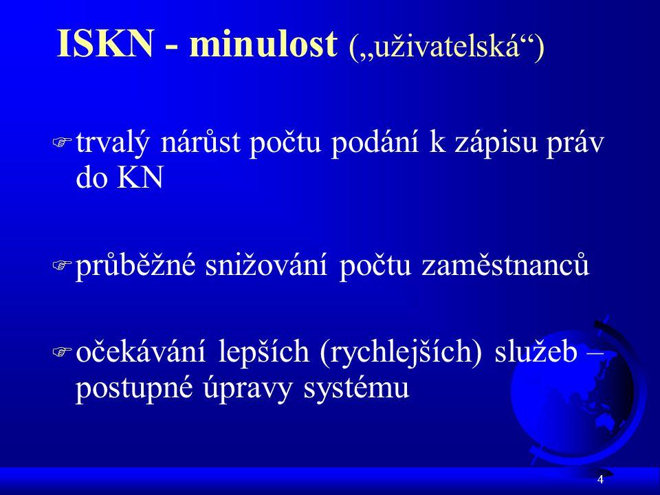 """4 ISKN - minulost (""""uživatelská ) F trvalý nárůst počtu podání k zápisu práv do KN F průběžné snižování počtu zaměstnanců F očekávání lepších (rychlejších) služeb – postupné úpravy systému"""