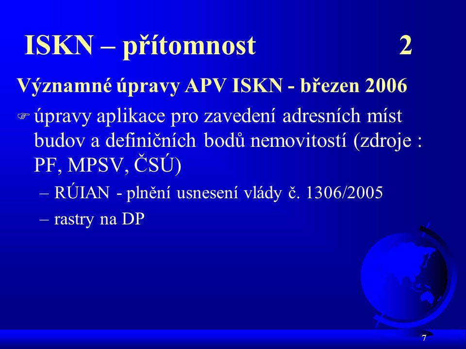 7 ISKN – přítomnost 2 Významné úpravy APV ISKN - březen 2006 F úpravy aplikace pro zavedení adresních míst budov a definičních bodů nemovitostí (zdroj
