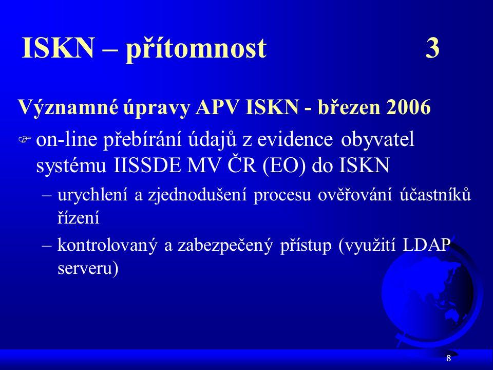 8 ISKN – přítomnost 3 Významné úpravy APV ISKN - březen 2006 F on-line přebírání údajů z evidence obyvatel systému IISSDE MV ČR (EO) do ISKN –urychlení a zjednodušení procesu ověřování účastníků řízení –kontrolovaný a zabezpečený přístup (využití LDAP serveru)