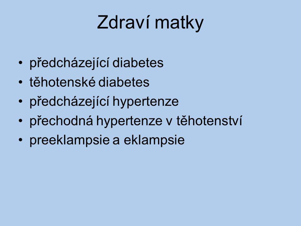 Zdraví matky předcházející diabetes těhotenské diabetes předcházející hypertenze přechodná hypertenze v těhotenství preeklampsie a eklampsie