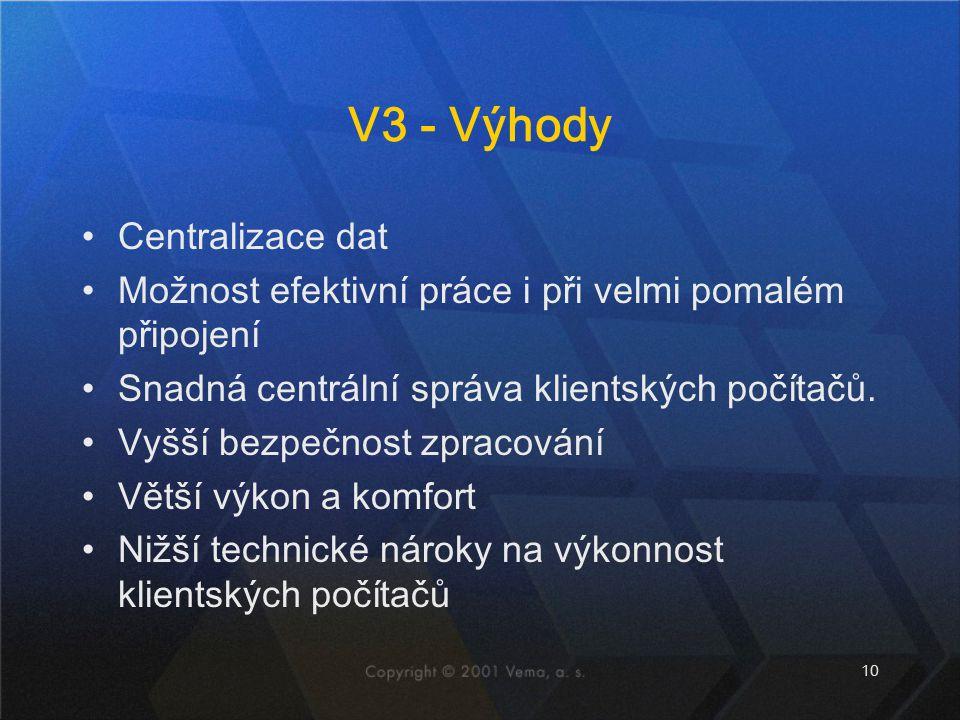 10 V3 - Výhody Centralizace dat Možnost efektivní práce i při velmi pomalém připojení Snadná centrální správa klientských počítačů. Vyšší bezpečnost z