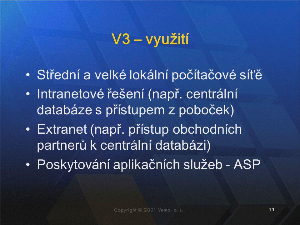 11 V3 – využití Střední a velké lokální počítačové síťě Intranetové řešení (např. centrální databáze s přístupem z poboček) Extranet (např. přístup ob
