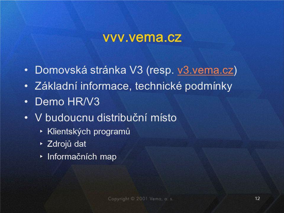 12 vvv.vema.cz Domovská stránka V3 (resp. v3.vema.cz)v3.vema.cz Základní informace, technické podmínky Demo HR/V3 V budoucnu distribuční místo ▸Klient