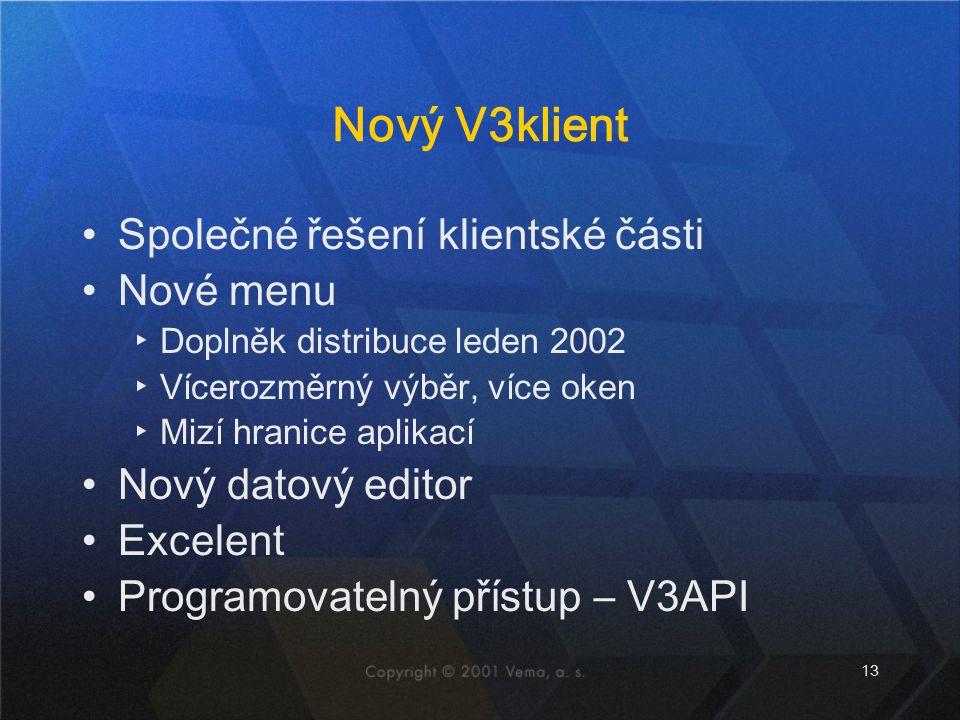 13 Nový V3klient Společné řešení klientské části Nové menu ▸Doplněk distribuce leden 2002 ▸Vícerozměrný výběr, více oken ▸Mizí hranice aplikací Nový datový editor Excelent Programovatelný přístup – V3API