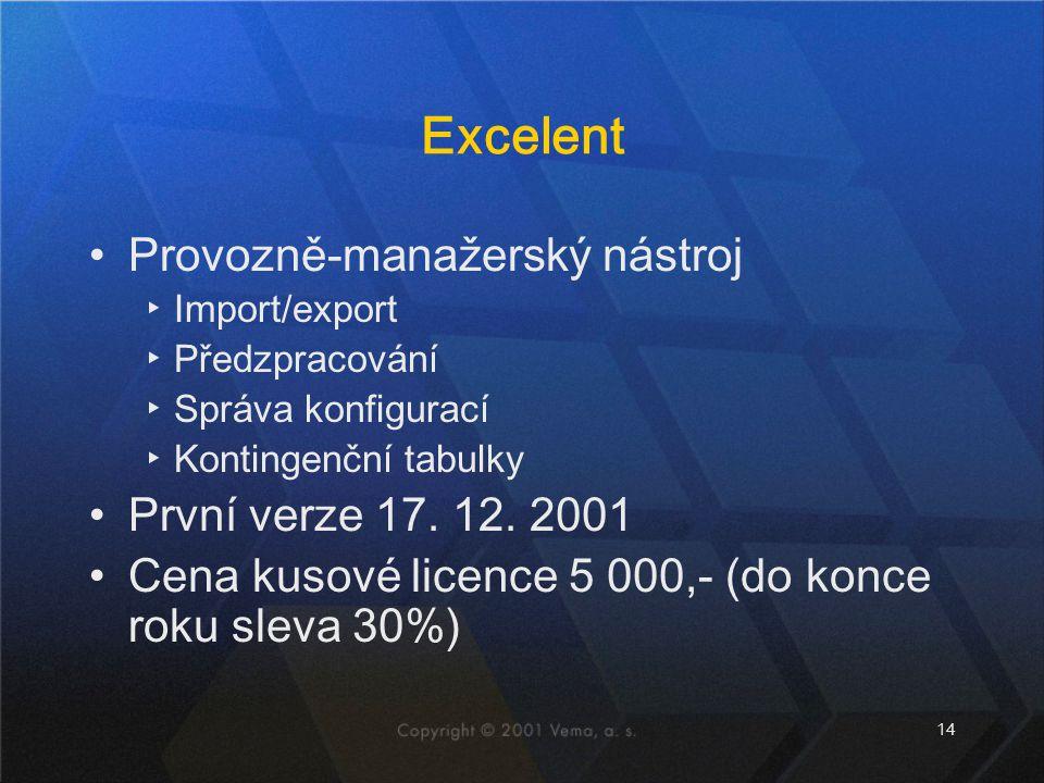 14 Excelent Provozně-manažerský nástroj ▸Import/export ▸Předzpracování ▸Správa konfigurací ▸Kontingenční tabulky První verze 17. 12. 2001 Cena kusové