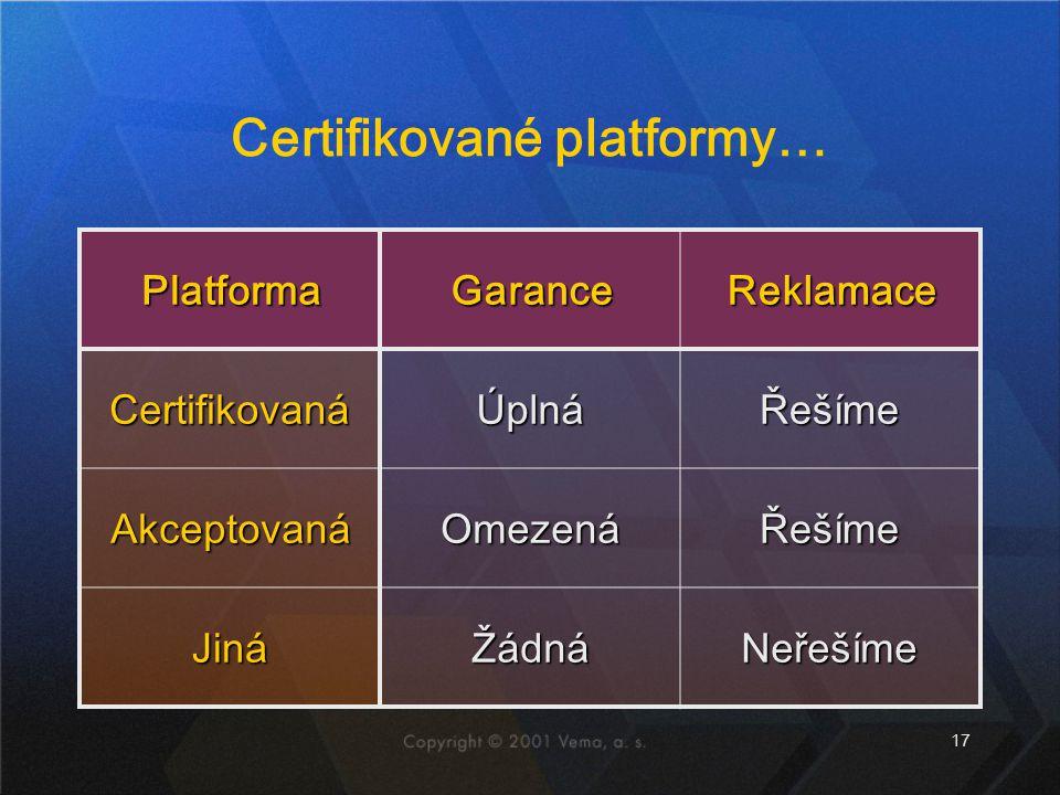 17 Certifikované platformy… PlatformaGaranceReklamace CertifikovanáÚplnáŘešíme AkceptovanáOmezenáŘešíme JináŽádnáNeřešíme
