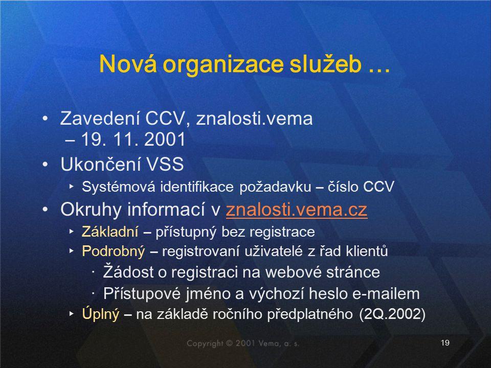 19 Nová organizace služeb … Zavedení CCV, znalosti.vema – 19. 11. 2001 Ukončení VSS ▸Systémová identifikace požadavku – číslo CCV Okruhy informací v z