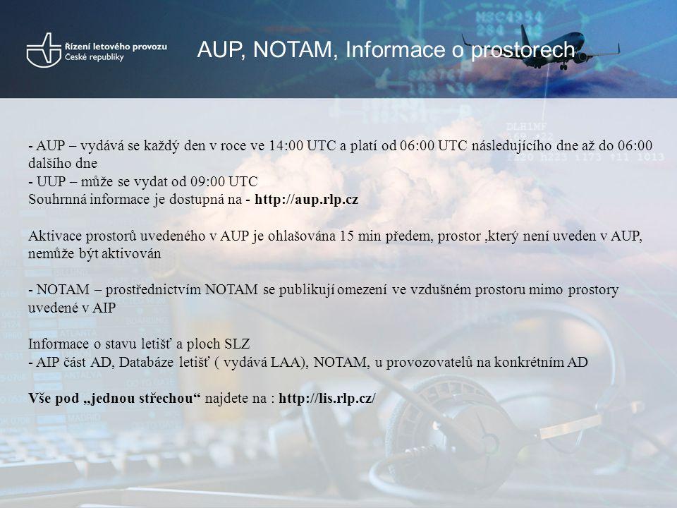 AUP, NOTAM, Informace o prostorech - AUP – vydává se každý den v roce ve 14:00 UTC a platí od 06:00 UTC následujícího dne až do 06:00 dalšího dne - UU