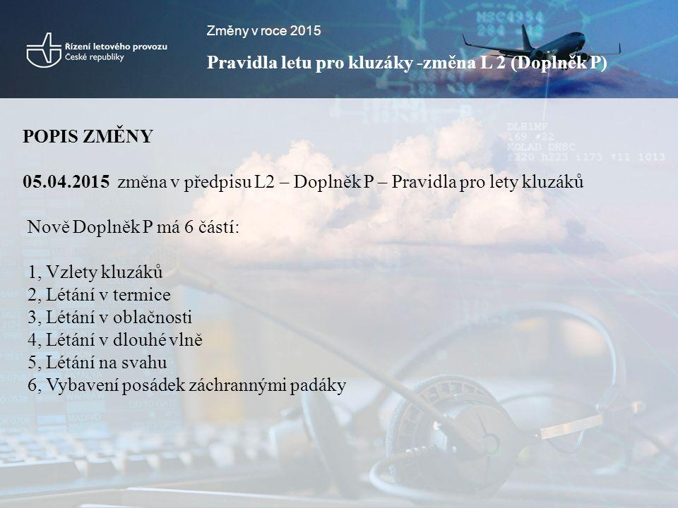 Změny v roce 2015 Pravidla letu pro kluzáky -změna L 2 (Doplněk P) POPIS ZMĚNY 05.04.2015 změna v předpisu L2 – Doplněk P – Pravidla pro lety kluzáků