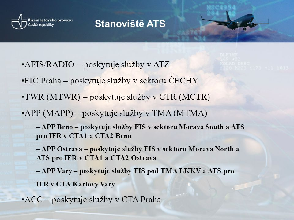 Stanoviště ATS AFIS/RADIO – poskytuje služby v ATZ FIC Praha – poskytuje služby v sektoru ČECHY TWR (MTWR) – poskytuje služby v CTR (MCTR) APP (MAPP)