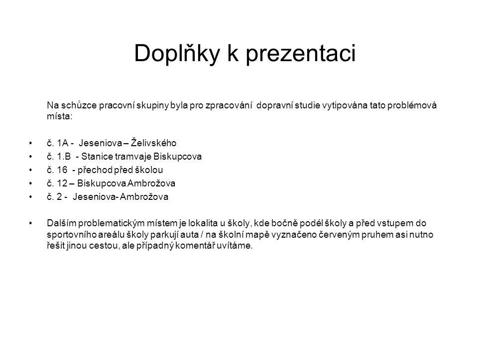 Doplňky k prezentaci Na schůzce pracovní skupiny byla pro zpracování dopravní studie vytipována tato problémová místa: č. 1A - Jeseniova – Želivského