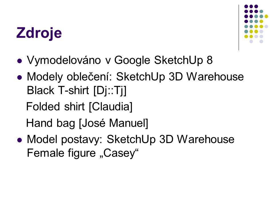 Zdroje Vymodelováno v Google SketchUp 8 Modely oblečení: SketchUp 3D Warehouse Black T-shirt [Dj::Tj] Folded shirt [Claudia] Hand bag [José Manuel] Mo