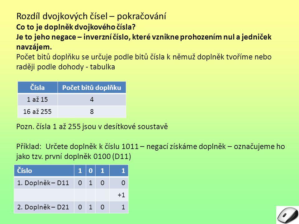 Rozdíl dvojkových čísel – pokračování Co to je doplněk dvojkového čísla? Je to jeho negace – inverzní číslo, které vznikne prohozením nul a jedniček n