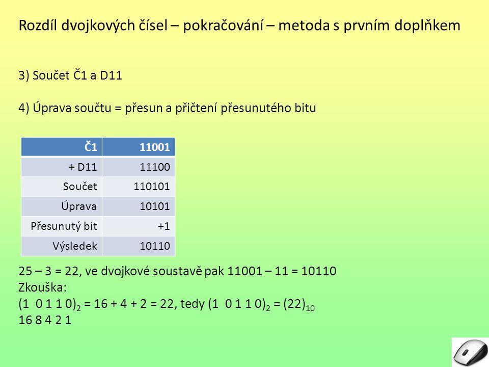 Rozdíl dvojkových čísel – pokračování – metoda s prvním doplňkem 3) Součet Č1 a D11 4) Úprava součtu = přesun a přičtení přesunutého bitu 25 – 3 = 22,