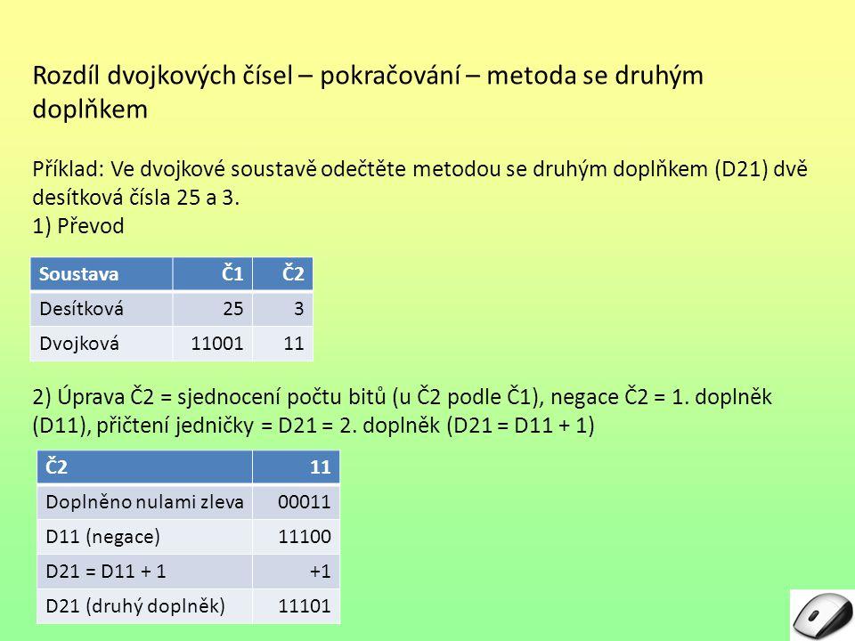 Rozdíl dvojkových čísel – pokračování – metoda se druhým doplňkem Příklad: Ve dvojkové soustavě odečtěte metodou se druhým doplňkem (D21) dvě desítkov