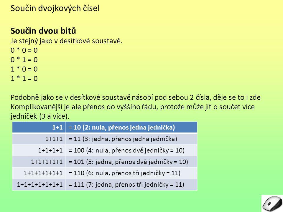 Součin dvojkových čísel Součin dvou bitů Je stejný jako v desítkové soustavě. 0 * 0 = 0 0 * 1 = 0 1 * 0 = 0 1 * 1 = 0 Podobně jako se v desítkové sous