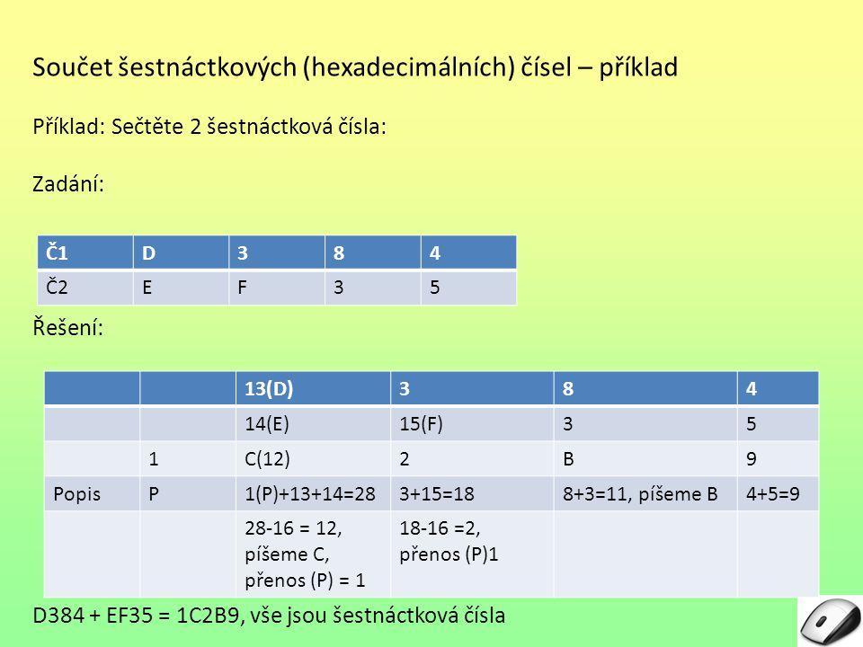 Součet šestnáctkových (hexadecimálních) čísel – příklad Příklad: Sečtěte 2 šestnáctková čísla: Zadání: Řešení: D384 + EF35 = 1C2B9, vše jsou šestnáctk
