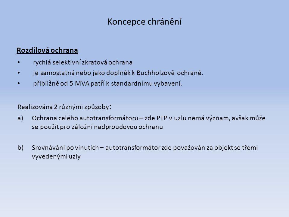 Koncepce chránění Rozdílová ochrana rychlá selektivní zkratová ochrana je samostatná nebo jako doplněk k Buchholzově ochraně. přibližně od 5 MVA patří