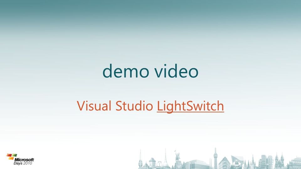 demo video Visual Studio LightSwitchLightSwitch