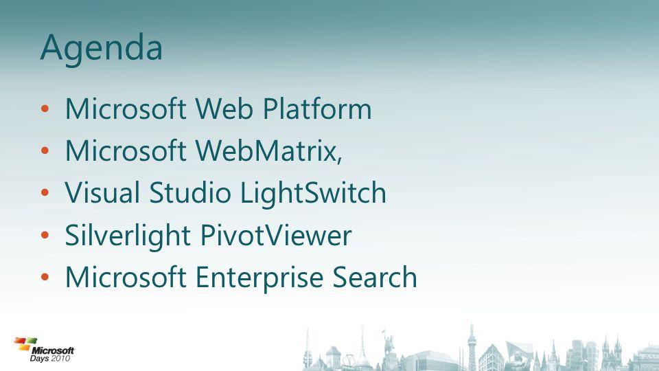 Silverlight PivotViewer Vizualizace velkého objemu dat Odhalení skrytých závislostí mezi daty Rychlá orientace a navigace mezi daty Technologie DeepZoom Zdarma ke stažení http://getpivot.com/http://getpivot.com/ Zdarma k veřejnému použití