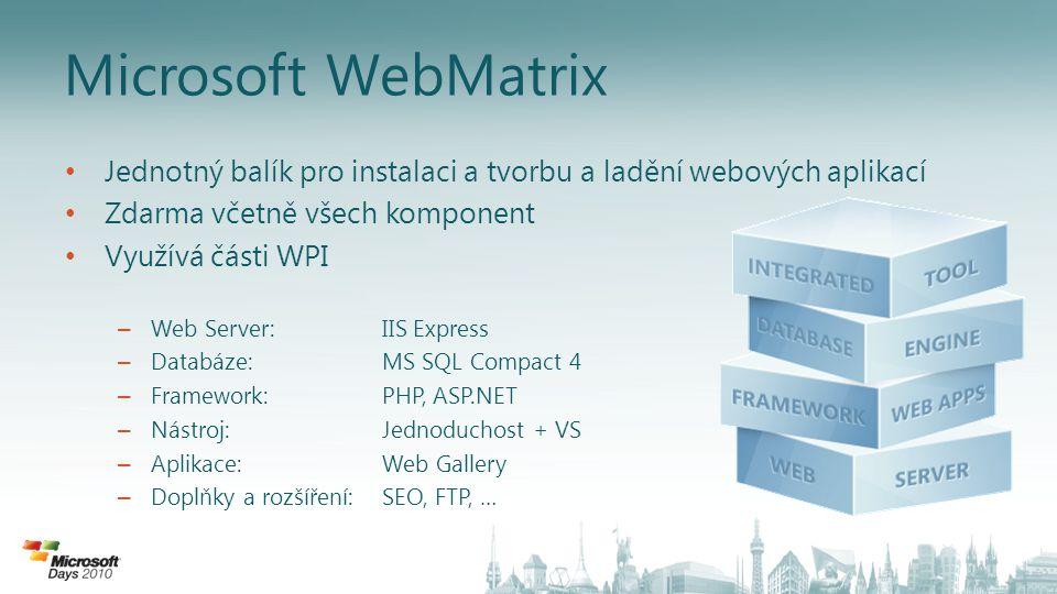 Microsoft WebMatrix Jednotný balík pro instalaci a tvorbu a ladění webových aplikací Zdarma včetně všech komponent Využívá části WPI – Web Server:IIS Express – Databáze:MS SQL Compact 4 – Framework: PHP, ASP.NET – Nástroj: Jednoduchost + VS – Aplikace:Web Gallery – Doplňky a rozšíření:SEO, FTP, …