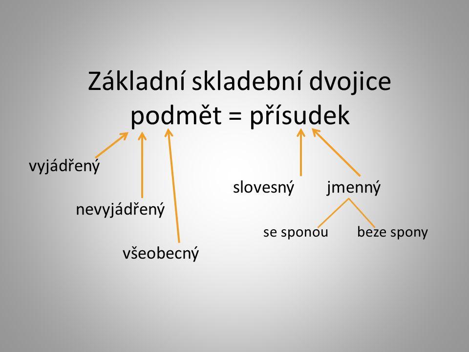 Základní skladební dvojice podmět = přísudek vyjádřený slovesný jmenný nevyjádřený se sponoubeze spony všeobecný
