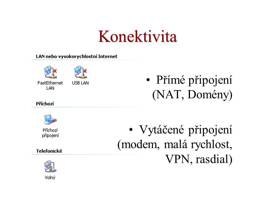 Konektivita Přímé připojení (NAT, Domény) Vytáčené připojení (modem, malá rychlost, VPN, rasdial)