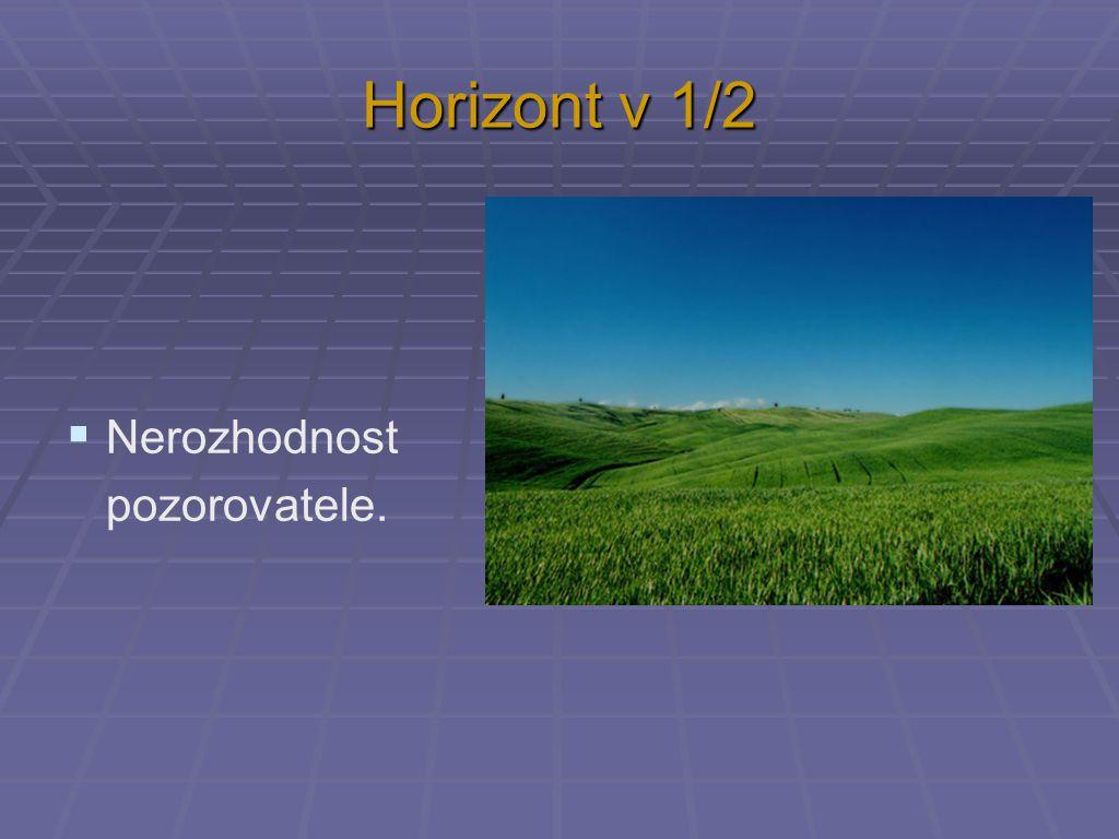 Horizont v 1/2  Nerozhodnost pozorovatele.