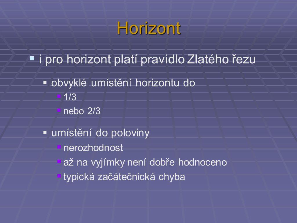 Horizont  i pro horizont platí pravidlo Zlatého řezu  obvyklé umístění horizontu do  1/3  nebo 2/3  umístění do poloviny  nerozhodnost  až na vyjímky není dobře hodnoceno  typická začátečnická chyba