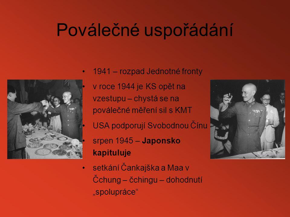 Poválečné uspořádání 1941 – rozpad Jednotné fronty v roce 1944 je KS opět na vzestupu – chystá se na poválečné měření sil s KMT USA podporují Svobodno