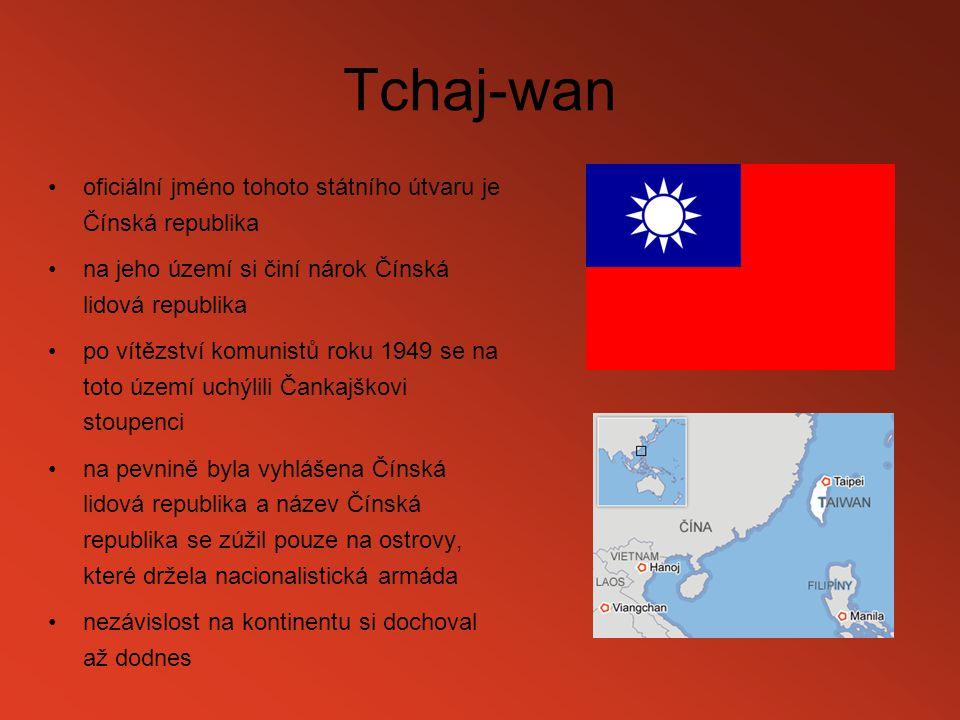 Tchaj-wan oficiální jméno tohoto státního útvaru je Čínská republika na jeho území si činí nárok Čínská lidová republika po vítězství komunistů roku 1
