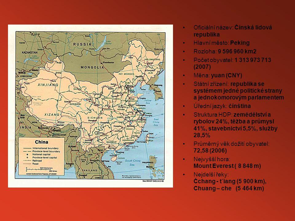 Oficiální název: Čínská lidová republika Hlavní město: Peking Rozloha: 9 596 960 km2 Počet obyvatel: 1 313 973 713 (2007) Měna: yuan (CNY) Státní zř