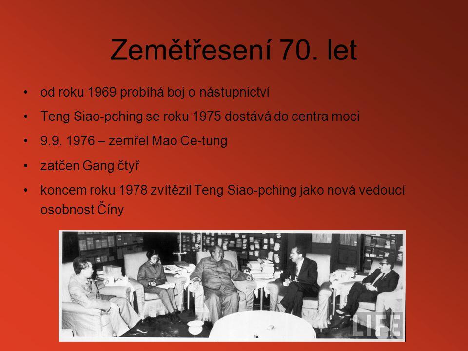 Zemětřesení 70. let od roku 1969 probíhá boj o nástupnictví Teng Siao-pching se roku 1975 dostává do centra moci 9.9. 1976 – zemřel Mao Ce-tung zatčen