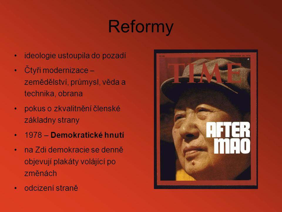 Reformy ideologie ustoupila do pozadí Čtyři modernizace – zemědělství, průmysl, věda a technika, obrana pokus o zkvalitnění členské základny strany 19