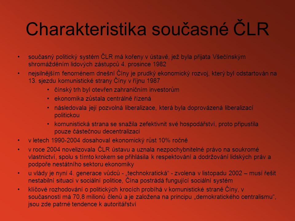 Charakteristika současné ČLR současný politický systém ČLR má kořeny v ústavě, jež byla přijata Všečínským shromážděním lidových zástupců 4. prosince