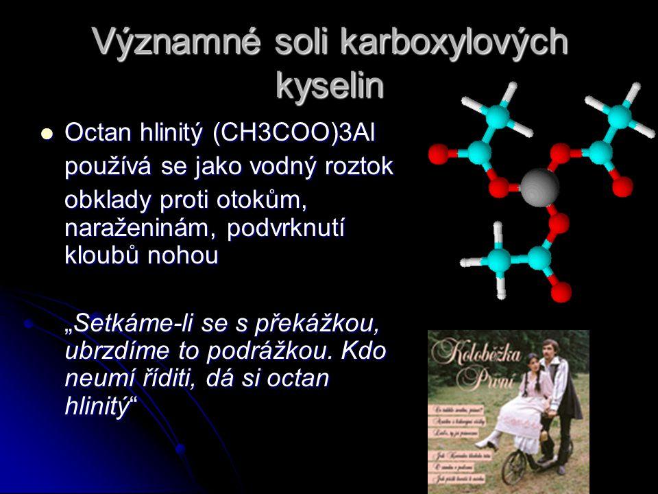 """Významné soli karboxylových kyselin Octan hlinitý (CH3COO)3Al Octan hlinitý (CH3COO)3Al používá se jako vodný roztok obklady proti otokům, naraženinám, podvrknutí kloubů nohou """"Setkáme-li se s překážkou, ubrzdíme to podrážkou."""