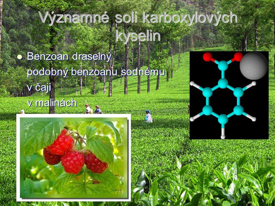 Významné soli karboxylových kyselin Benzoan draselný Benzoan draselný podobný benzoanu sodnému v čaji v malinách