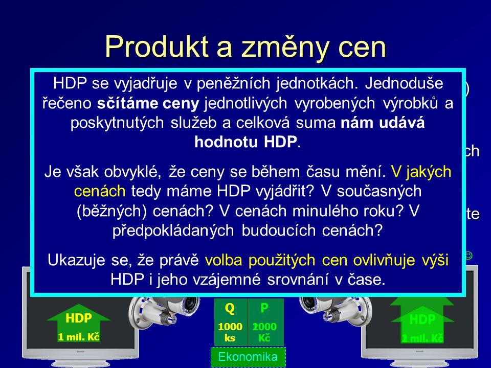 Produkt a změny cen Výpočet HDP je ovlivněn inflací (změnami cenové hladiny) Nominální produkt – produkt počítán v běžných cenách sledovaného období;