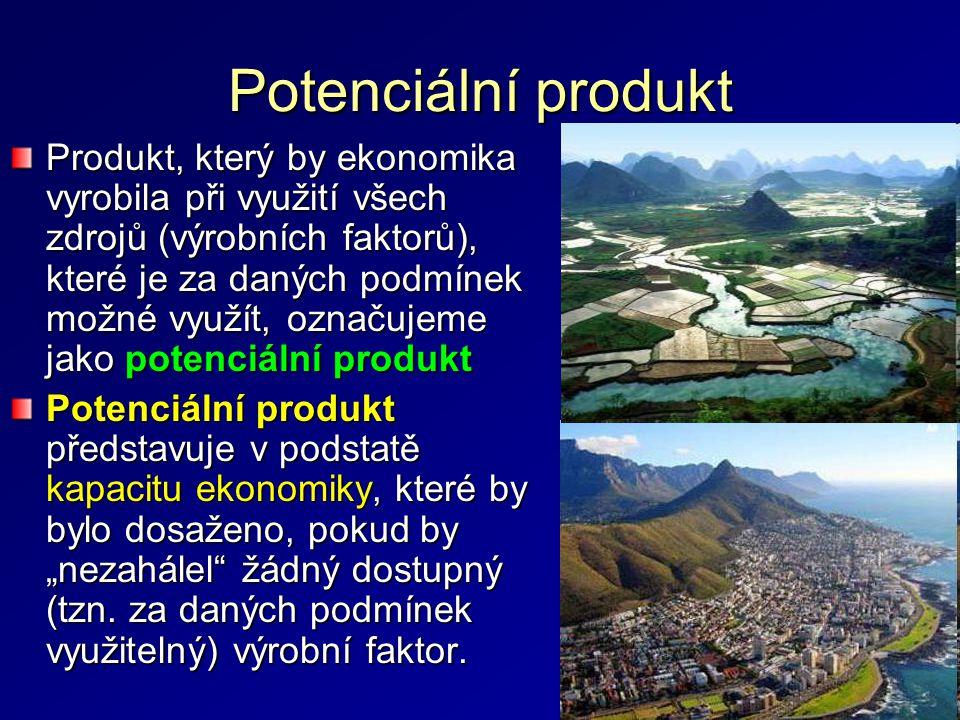Potenciální produkt Produkt, který by ekonomika vyrobila při využití všech zdrojů (výrobních faktorů), které je za daných podmínek možné využít, označ
