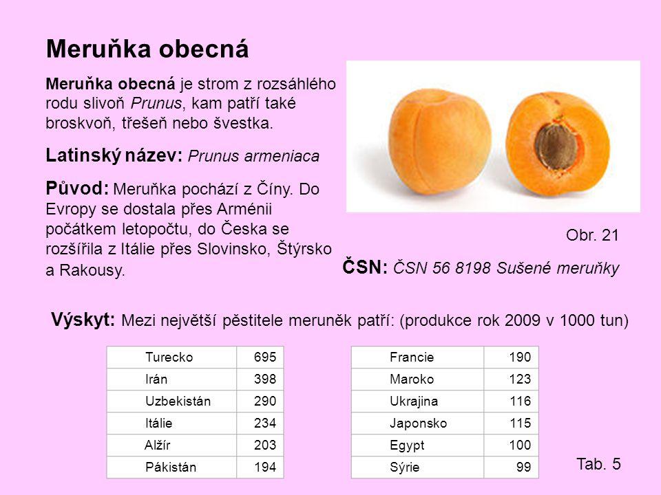 Meruňka obecná Meruňka obecná je strom z rozsáhlého rodu slivoň Prunus, kam patří také broskvoň, třešeň nebo švestka. Latinský název: Prunus armeniaca