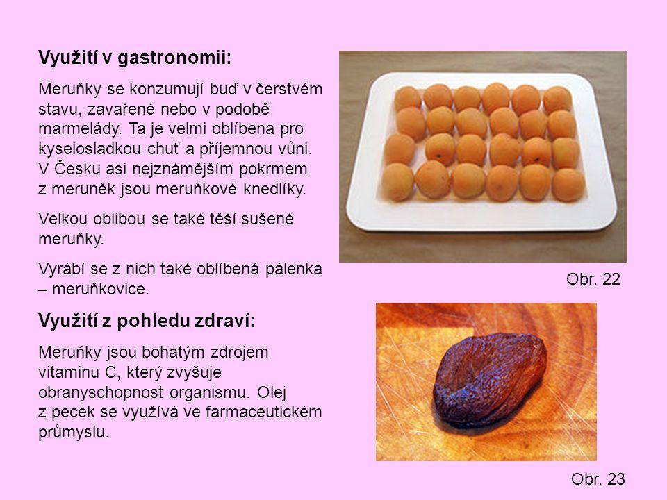 Využití v gastronomii: Meruňky se konzumují buď v čerstvém stavu, zavařené nebo v podobě marmelády. Ta je velmi oblíbena pro kyselosladkou chuť a příj