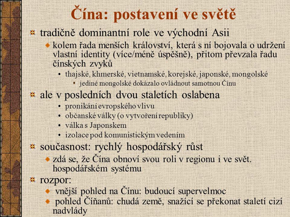 Čínština několik jazyků (dialektů?) - cca 7 nejrozšířenější: mandarinská čínština další: kantonská č., tchajwanská č., šanghajská č., wu, … čínské znakové písmo vyvíjí se od 2.