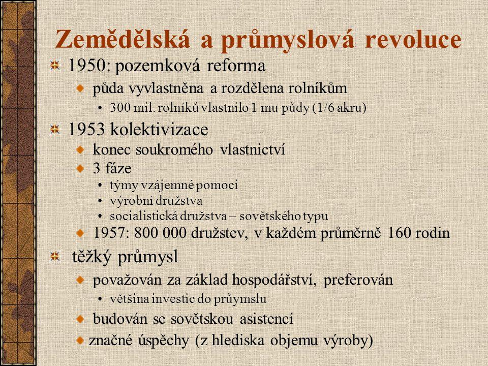 Zemědělská a průmyslová revoluce 1950: pozemková reforma půda vyvlastněna a rozdělena rolníkům 300 mil. rolníků vlastnilo 1 mu půdy (1/6 akru) 1953 ko