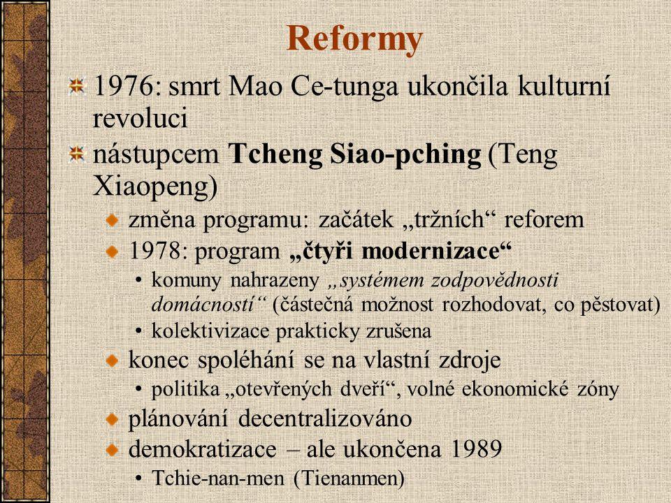 """Reformy 1976: smrt Mao Ce-tunga ukončila kulturní revoluci nástupcem Tcheng Siao-pching (Teng Xiaopeng) změna programu: začátek """"tržních"""" reforem 1978"""