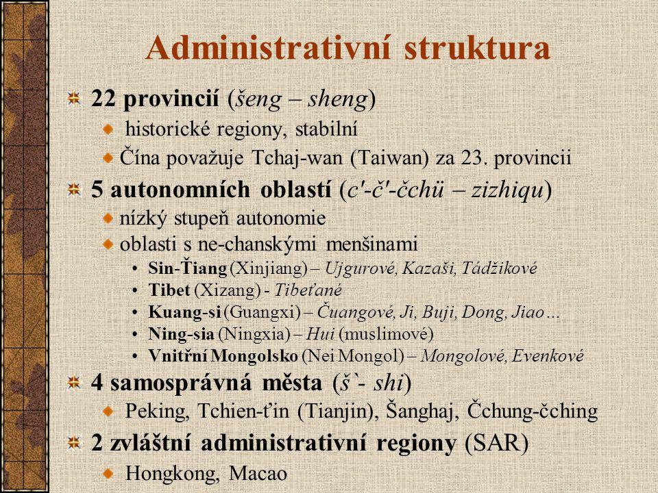 Administrativní struktura 22 provincií (šeng – sheng) historické regiony, stabilní Čína považuje Tchaj-wan (Taiwan) za 23. provincii 5 autonomních obl
