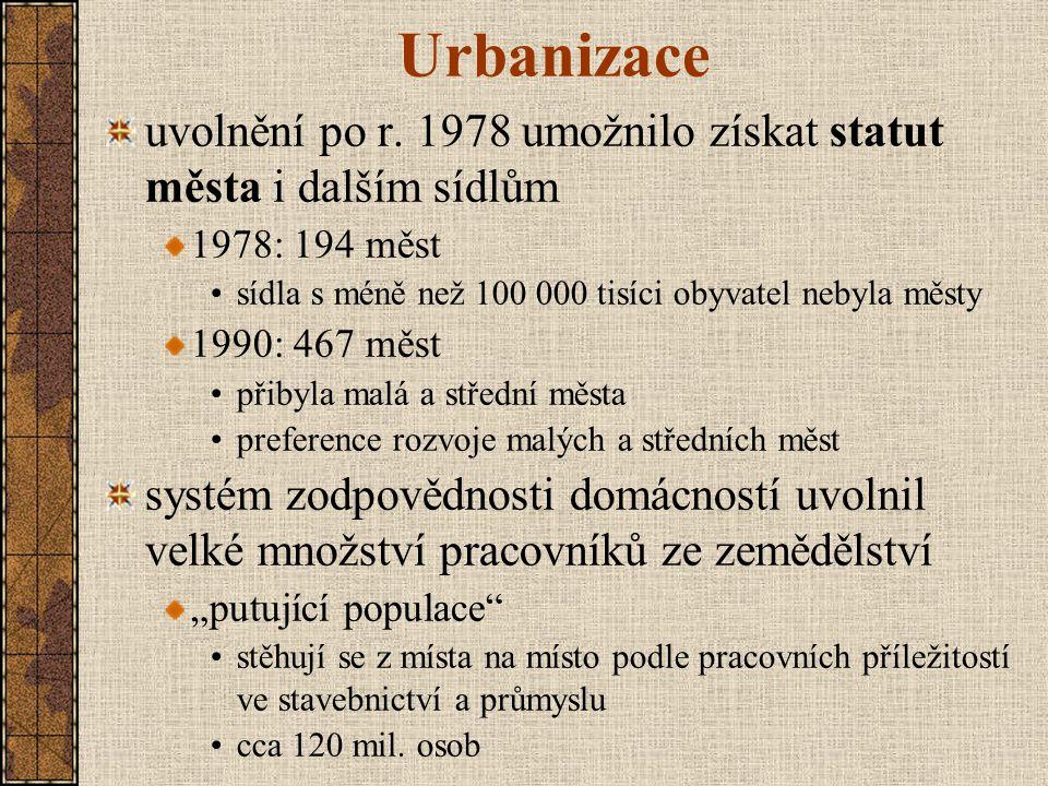 Urbanizace uvolnění po r. 1978 umožnilo získat statut města i dalším sídlům 1978: 194 měst sídla s méně než 100 000 tisíci obyvatel nebyla městy 1990: