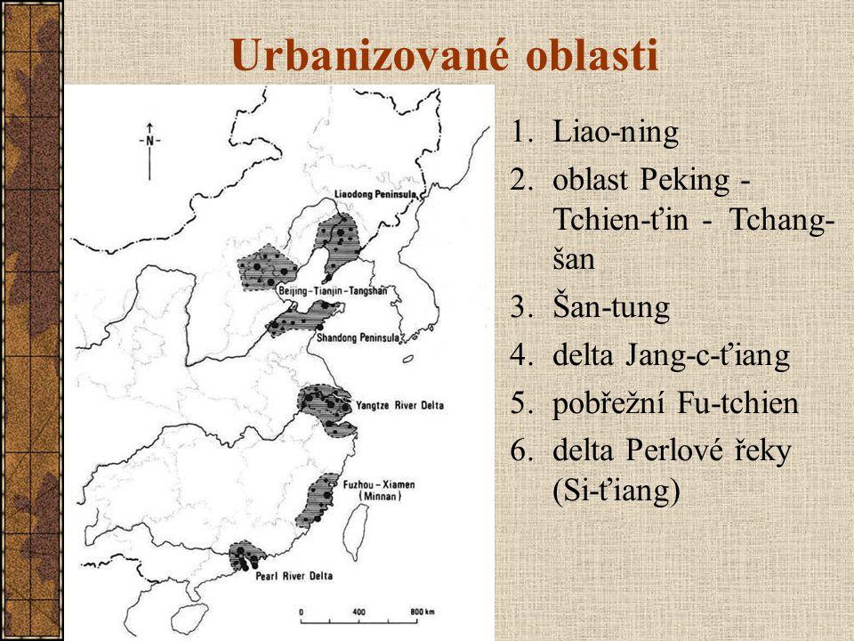 Urbanizované oblasti 1.Liao-ning 2.oblast Peking - Tchien-ťin - Tchang- šan 3.Šan-tung 4.delta Jang-c-ťiang 5.pobřežní Fu-tchien 6.delta Perlové řeky