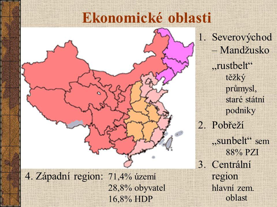 """Ekonomické oblasti 1.Severovýchod – Mandžusko """"rustbelt"""" těžký průmysl, staré státní podniky 2.Pobřeží """"sunbelt"""" sem 88% PZI 3.Centrální region hlavní"""