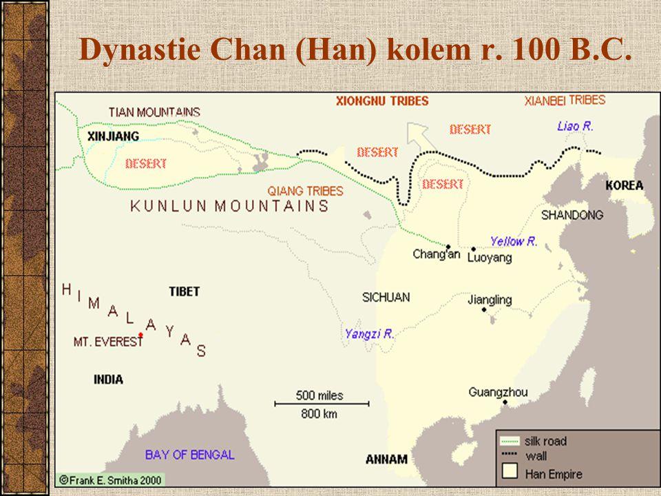 Dynastie Tchang (Tang) (618 – 907) znovu územní rozmach (po předchozím oslabení) až po jezero Balchaš, Samarkand a Chorezm zastaveni koalicí Turků a Arabů na řece Talas hlavní město: Čang-an (Chang'an) – přes 2 mil.